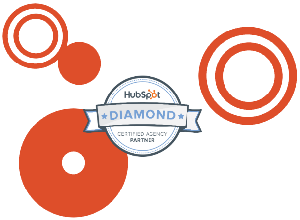 Hubspot diamond level certified agency partner logo with circles