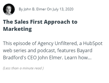 The Sales First Approach to Marketing Article